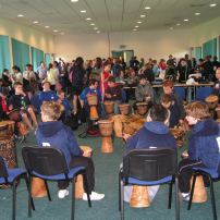 African drumming for community festivals and gala days.