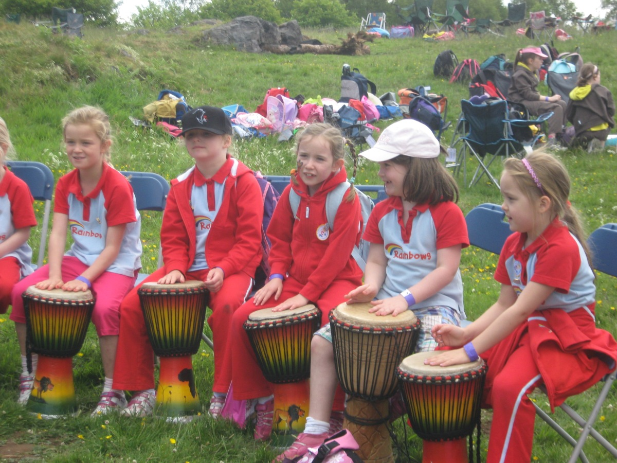 Rainbows enjoying African drumming at their festival.