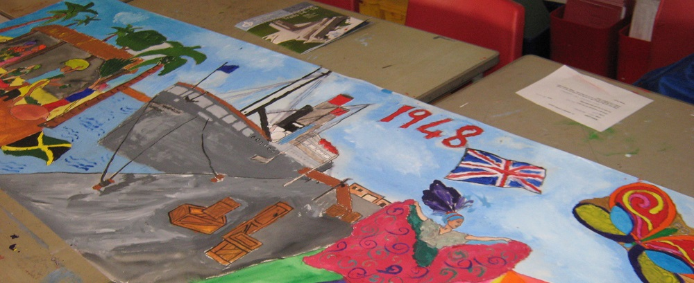 Windrush Banner made at St Stephens school